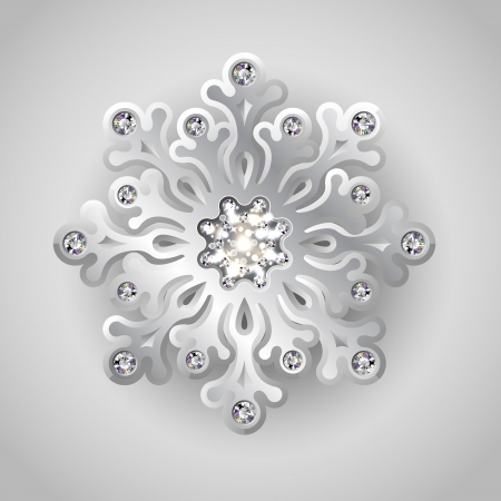 Holiday Christmas Background with Silver Jewelry Snowflake with Shiny Diamonds Vector