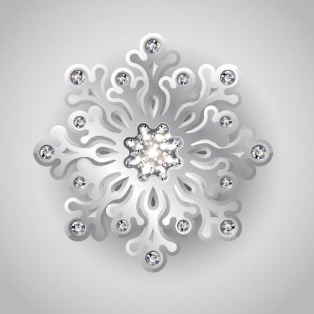 Vakantie Kerst achtergrond met zilveren sieraden Sneeuwvlok met Shiny Diamonds Stock Illustratie