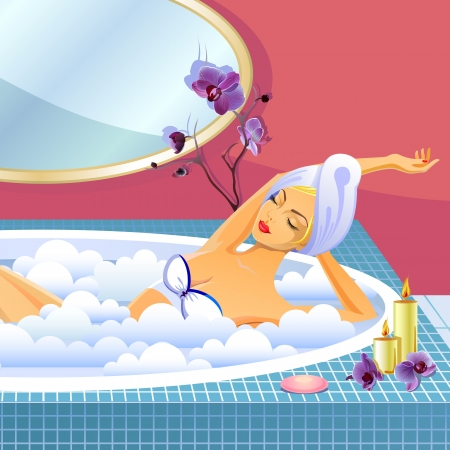 cleaning bathroom: Beautiful girl having a rest in the blue round bath Illustration