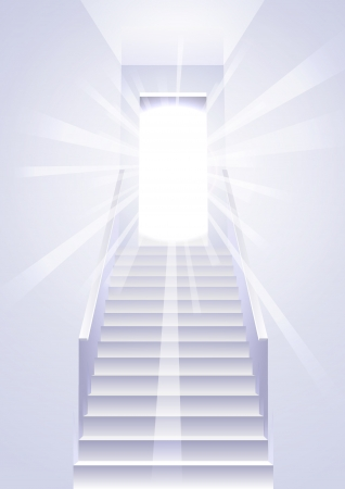 Ascension on a ladder in the white room  Stock Vector - 16645949