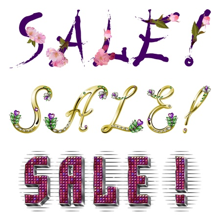 volume inscription Sale! in three varieties of fonts with shiny rhinestones and flowers, metal silver and gold framing