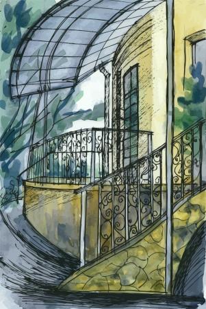はしご、ポーチ、小屋の建物のフラグメント 写真素材 , 16999084