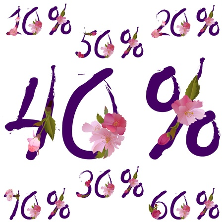 sale percents in violet ink font with spring sakura flowers Stock Vector - 16999083