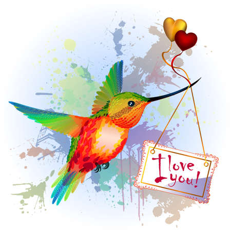 heart clipart: Rainbow humming-bird with Valentines Card, gold and red hearts, on the splash background Illustration