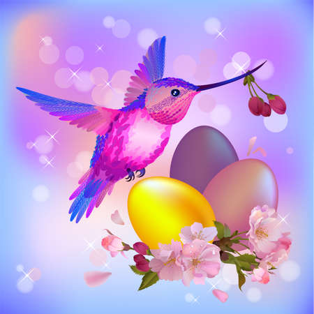Vector Easter greeting card with beautiful cherry flowers,eggs and flying humming-bird Vector