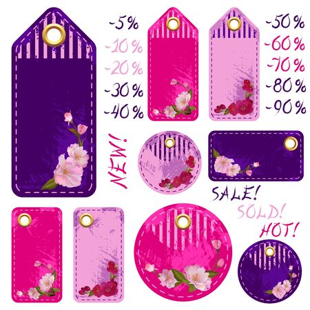 Vector spring sale colorful tags with beautiful sakura flowers and percents Stock Vector - 17628426