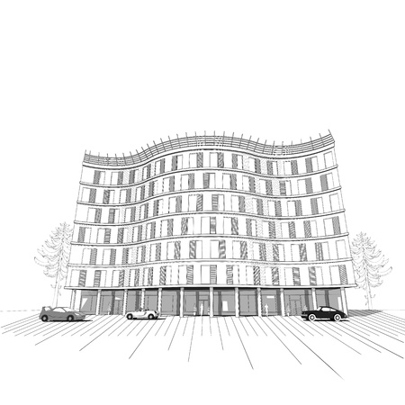 multistory: Vector architectural black and white background with modern apartment or office multistory building Illustration