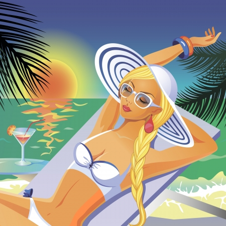 Beautiful tanned girl in white bikini and hat having a rest on a beach with a coctail Illustration