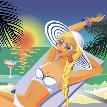 Vacker garvade flicka i vit bikini och hatt som har en vila på en strand med en coctail Illustration