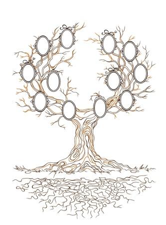famille malheureuse: Ancien grand arbre branche vici� graphique lin�aire avec des cadres pour des portraits de famille Illustration