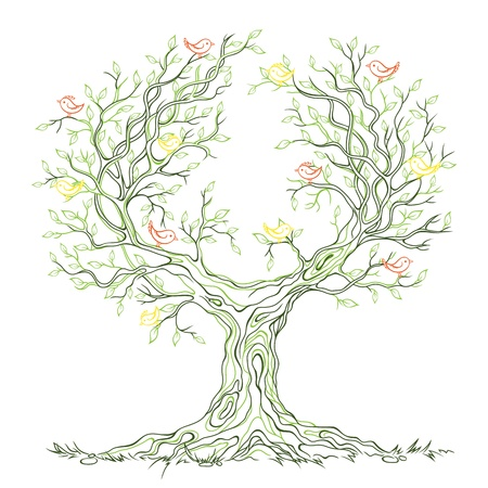 linear graphic green old big branch tree with leaves and birds