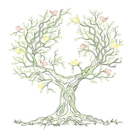 albero della vita: lineare grafico vecchio grande albero ramo con foglie e uccelli Vettoriali