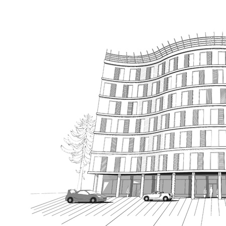 multistory: architectural black and white background with modern apartment or office multistory building Illustration