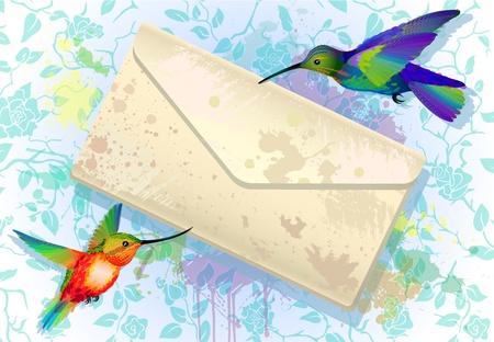 Regenboog kolibries met grunge envelop bericht op de splash achtergrond met rozen