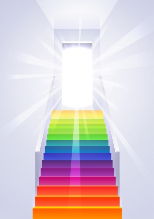 tunnel light: Ascension on the rainbow multicolored ladder in the white room - concept vector