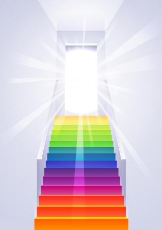 Hemelvaart op de regenboog veelkleurige ladder in de witte kamer - concept vector