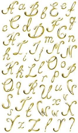 ボリュームの光沢のある gVector のボリュームの光沢のあるゴールド分離アルファベット、すべての文字と句読点をベクトルします。