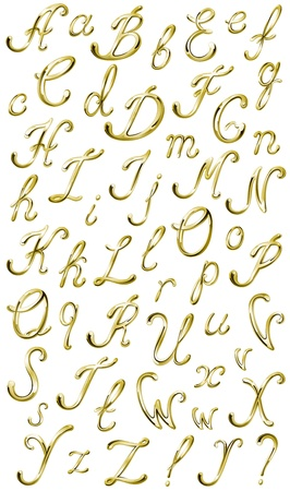 Vector volume shiny gVector volume shiny gold isolated alphabet ,all letters and punctuation marks Vector