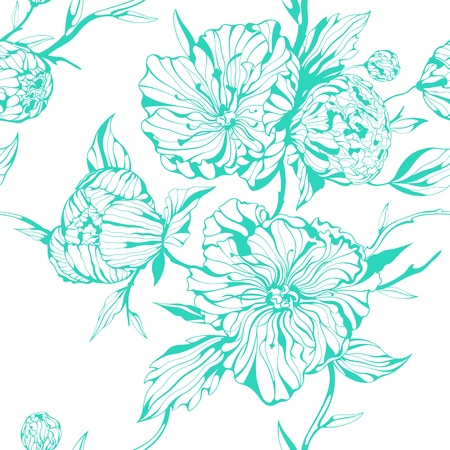 穏やかな牡丹の花とターコイズ ブルーのシームレスな背景  イラスト・ベクター素材
