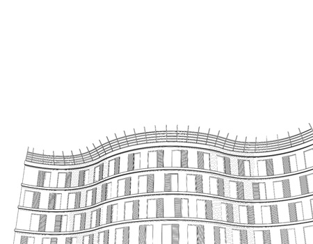 high rise: architectural black and white background with modern apartment or office multistory building Illustration