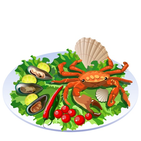 Crab in the dish with salad, tomatos and molluscs with lemon slices