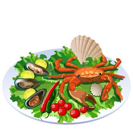 Krab in de schaal met salade, tomaten en weekdieren met plakjes citroen