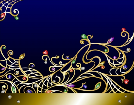 Gold jewelry curly background with multicolor gems and diamonds Vector