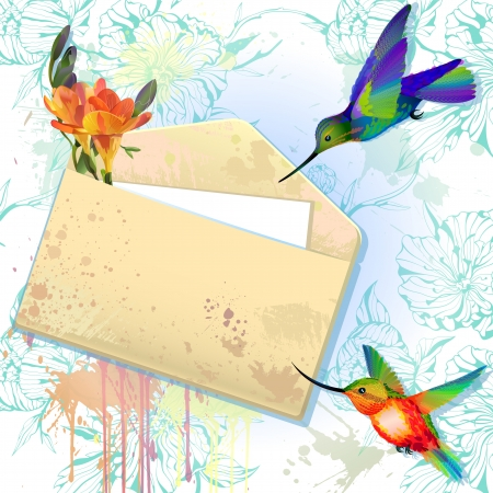 freesia: Rainbow hummingbirds with grunge envelope message on the splash background with flowers