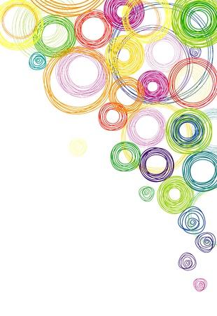 多色虹円と抽象的な白い背景