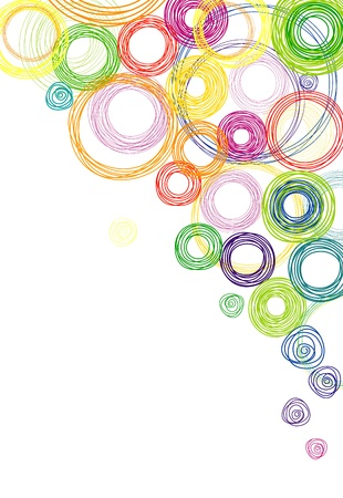 abstract white background with multicolored rainbow circles Illustration