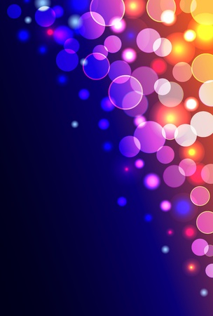 clubbing: Vector abstract background with shiny blurred blue, yellow, pink colored lights in vertical format Illustration