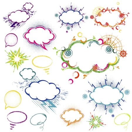 Comic style hand drawn speech bubbles in different colors varieties Vector