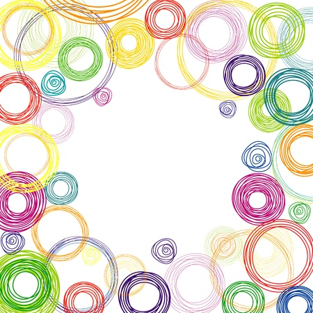 rainbow print: Abstract white background with multicolored rainbow circles Illustration