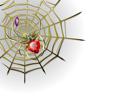 Background with jewelry spider with multicolored jems on the gold web