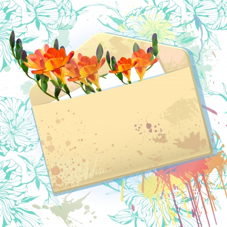 holiday celebrations: Vector background with grunge envelope message with orange freesia flowers Illustration