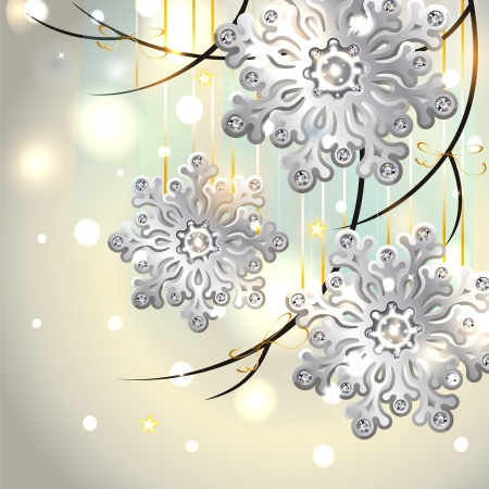 Shiny Christmas Card with silver snowflakes with diamonds  Vector
