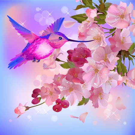 spring background with gentle branch of beautiful cherry flowers and flitting humming-bird