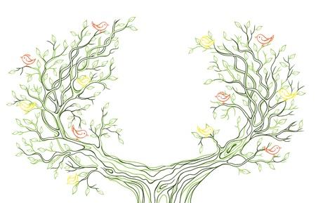 Rami verdi grafici lineari con foglie e uccelli Archivio Fotografico - 22165713