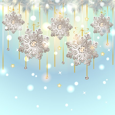 Shiny Blue Christmas Card with silver snowflakes with diamonds - vector Vector