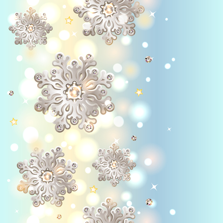 Shiny Blue Christmas Seamless Background with silver snowflakes with diamonds Stock Vector - 23290529