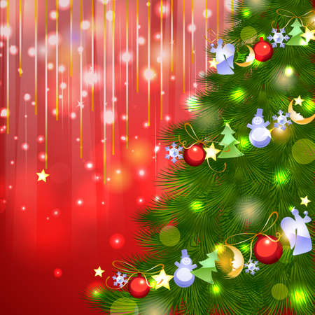 Shiny red vector background with Christmas fir tree with garland glassy decoration Vector
