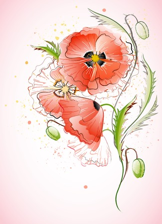 Vector vertical greeting card with red gentle poppy flowers Vector