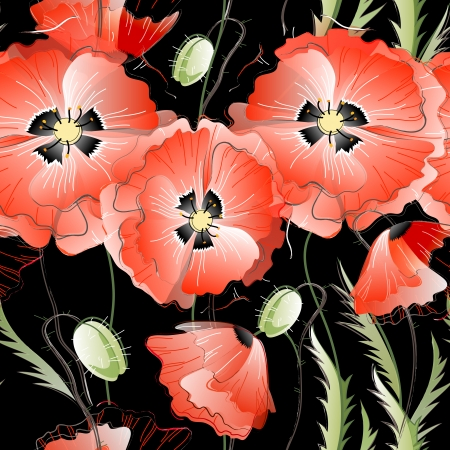 Vector seamless pattern with red gentle poppy flowers on the black background Vector