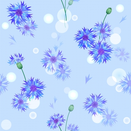 Vector blue seamless pattern with gentle bluebottle flowers Vector