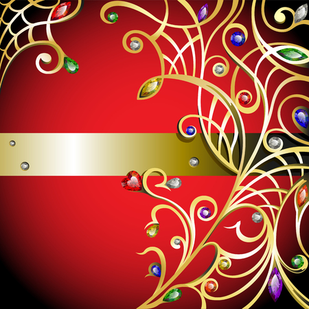 Gold jewelry curly with multicolor gems and diamonds Vector