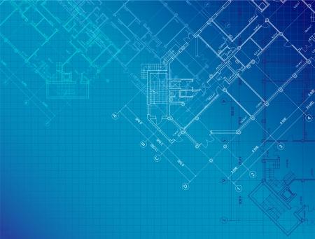 青の水平形式の建物の計画とアーキテクチャ