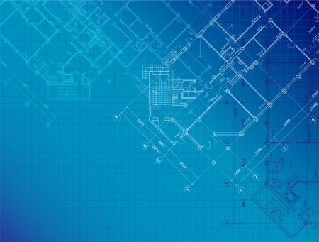 blue architectural with plans of buildings on the horizontal format Vector