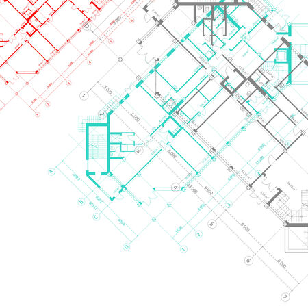 architectural white with colored plans of building