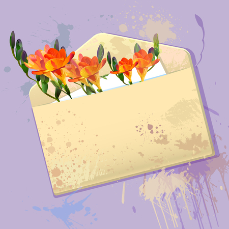 violet greeting with grunge envelope message with orange freesia flowers Vector