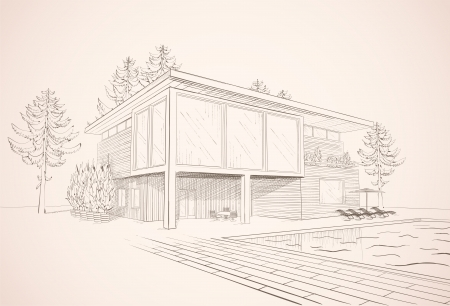 Vector sepia sketch of modern suburban wooden house with swimming pool and chaise lounges Çizim